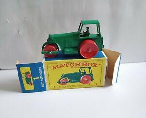 MATCHBOX 1 ROAD ROLLER .  RARE E BOX . MINT !!!