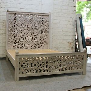 MADE TO ORDER Dynasty Hand Carved Indian Wooden King Size Bed Grey Color  XL