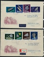 HUNGARY 1964 Space Research Full Set 2 x FDC Registered Airmail to USA
