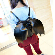 Women fashion style black heart-shaped with bat wings lace Leather backpack bags