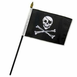 """Jolly Roger Pirate Eye Patch Flag 4""""x6"""" Desk Table Stick"""