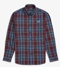 Men's Genuine Fred Perry mahogany winter tartan long sleeve shirt Large