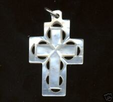 Lot of 6 White MOTHER OF PEARL Cross Pendants from the Holy Land! GREAT VALUE!