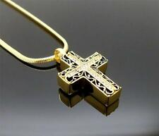 Gold Ornate Cross Memorial Keepsake Cremation Funeral Ash Urn Crucifix Pendant