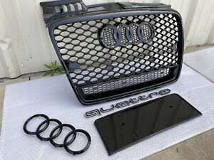 for Audi A4 B7 2005-2008 RS4 Style Black Frame Black Mesh Quattro Front Grill