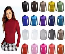 WOMENS LADIES LONG SLEEVE TURTLE POLO NECK PLAIN TOP JUMPER SHIRT PLUS SIZE8-26