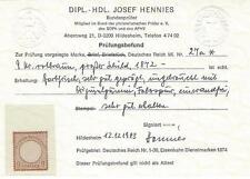 """Deutsches Reich 1872 MiNr. 27a * mit Prüfungsbefund """"Hennies"""" sehr gut erhalten"""