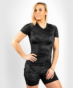 Venum Women Defender Rashguard Short Sleeves-schwarz, für Grappling, MMA, u.v.m.