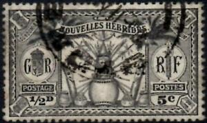 New Hebrides (French) 1925  5c (1/2d) Black   SG.F42 Used   Cat:£13