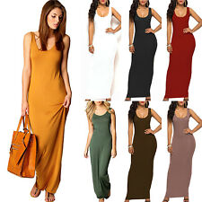 Womens Sleeveless Tank Tops Holiday Long Dress Casual Basic Bodycon Maxi Dresses