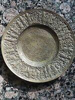 Antique Persian Brass Trinket Dish Handmade Qalam Zani Art Qajar Etched Repousse