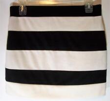 Lush Mini Skirt Size M Black White Striped Women's Above Knee Elastic Waist