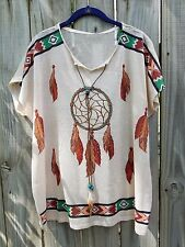 Cowgirl Gypsy Dreamcatcher bling Boho Aztec Native Top Tunic NWT oatmeal