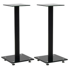 Tempered Glass Speaker Stands Free Standing Pillar Design 2 Pieces Black