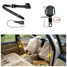 3 Point Retractable Adjustable Car Seat Belt Lap & Diagonal Belt W/Warning Cable