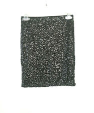 H&M DIVIDED Black Sequin Mini Tube Skirt Bodycon Party Evening Women's Size XS