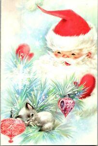 Santa Surprise Sleepy Kitty Cat Kitten Pink Ornament VTG Christmas Greeting Card