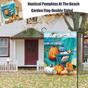 """Fall Nautical Pumpkins At The Beach Autumn Leaves Garden Yards Flag 12.5""""x18"""""""