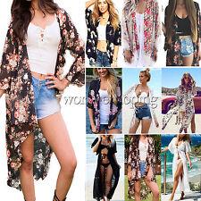 Womens Beach Bikini Cover Up Casual Loose Shawl Kimono Cardigan Tops Blouse Coat