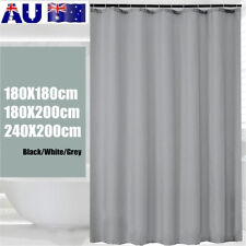 Waterproof Extra Long Plain Shower Curtain Extra Wide Home Bathroom Hooks Ring
