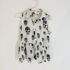 Last Kiss Sleeveless Scull Print Top white and black Size M