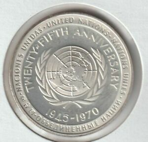 United Nations 25th Anniversary Sterling Silver Medal -  BU