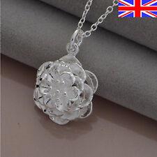 "Ladies 925 Silver Rose Necklace Flower Pendant 18"" Girls Free Gift Bag"