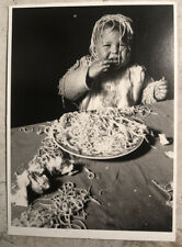 Vintage Postcard ~ Baby Eating Spaghetti Posted Via Sweden 90s