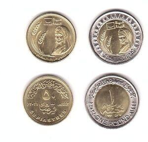 Egypt - 50 Piastres + 1 Pound 2021 UNC Development of the Egyptian countryside