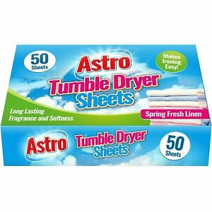 Tumble Dryer Sheets 50 x Astro Spring Fresh Linen Scented Conditioned Freshness