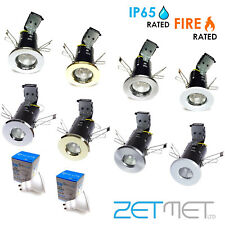 6 x Fire Rated / IP65 Bathroom GU10 LED Recessed Ceiling Downlights Spotlights