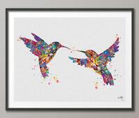 Hummingbirds Watercolor Print Wedding Gift Wall Art Hummingbird Print Animal Art