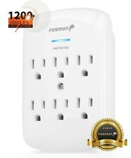 Fosmon 6 Outlet Surge Protector Multi Plug Wall Adapter Tap 1200J [ETL Listed]