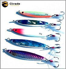 5x 30g Fishing Lures Metal Slice Micro Jig Bait Spoon Tackle Bonito Mackerel GT
