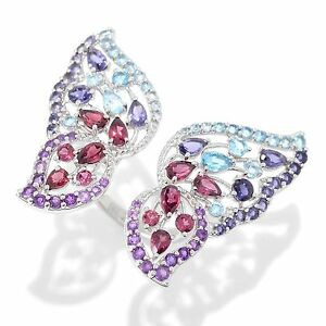 Evine Live NYC II® 5.54ctw Multi Gemstone Cut-out Butterfly Ring Sz 6 J478153 J