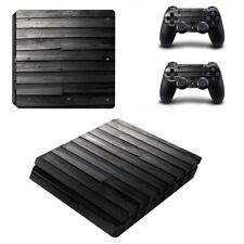 Adesivo Skin Cover per Sony PlayStation 4 PS4 SLIM LEGNO NERO WOOD BLACK