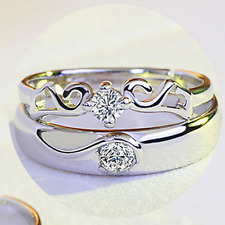 1Pair Creative Silver Crystal Wedding Bridal Ring Band Couple Promise Ring Gift