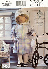 "VOGUE Jane Doll Circa 1930'S w/Full Color Transf Linda Carr Pattern 7513 18"" UNC"