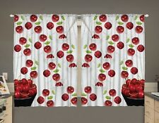 Cherries Bowls Kitchen CURTAIN PANEL SET Fruit Red White Print Window Decor New