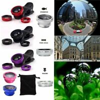 For iPhone 6S Plus 6 7 5S 4 Fish Eye Wide Angle Macro 3 in1 Camera Clip-on Lens