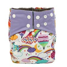 ALL IN ONE Baby Cloth Diaper Nappy Rainbow Reusable Sewn Charcoal Insert Night