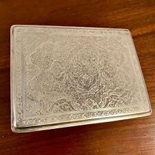 New listing Large Persian Solid Silver Spring Loaded Cigarette Case: All Hand Etched 192g