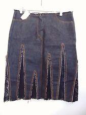 Denim Skirt Black Lace Skirt Knee Length by Simona BARBIERI (Twin Set) Sz L