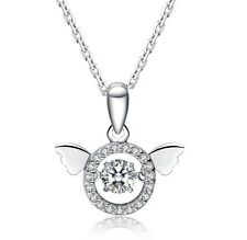 Dancing Sterling Silver Angel Wings Round Cubic Zirconia Halo Pendant Necklace