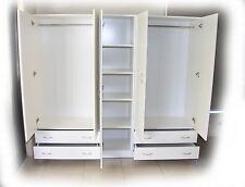 Budget 2000mm White 3 Piece Wardrobe Hanging,4 Draws + Skinny Shelves -BRAND NEW