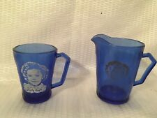 Vintage Shirley Temple Cobalt Blue Glass and Pitcher 1930's Cottage Farmhouse
