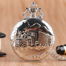 Silver Truck Lorry Men Driver Quartz Pocket Watch Necklace Chain Best Gift
