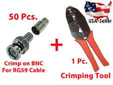 50x BNC Male + Crimping Crimper Tool RG58, 59, 62, 6, 21, 140  RCA Connector