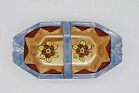 "Japan Vintage Hand Painted Floral Lustreware Handled Tray 7.5"" Blue"