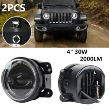 "2PCS 4"" 30W LED Round Fog Lights White Halo Ring Work Lamp 2000LM for Wrangler"